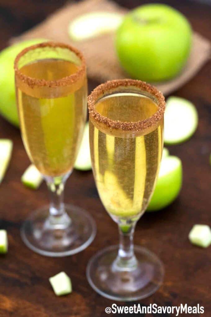 apple cider mimosa flutes