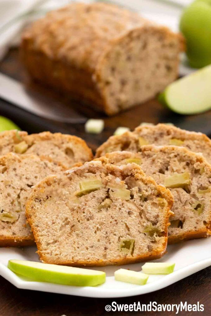 Apple bread slices on a plate
