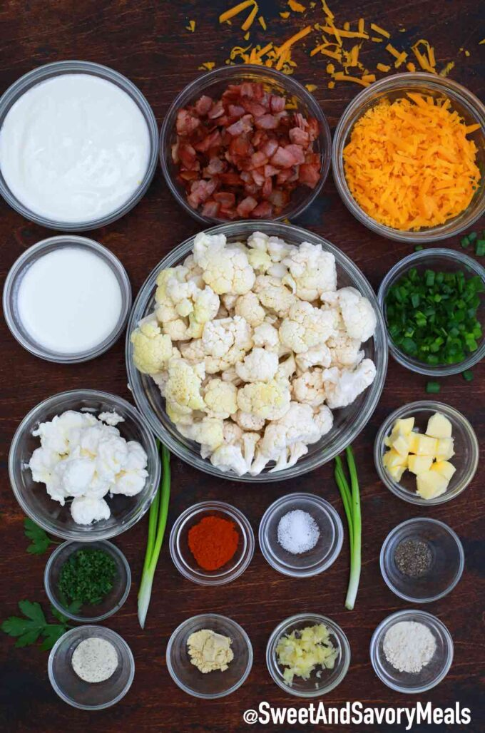 cheesy cauliflower bake ingredients