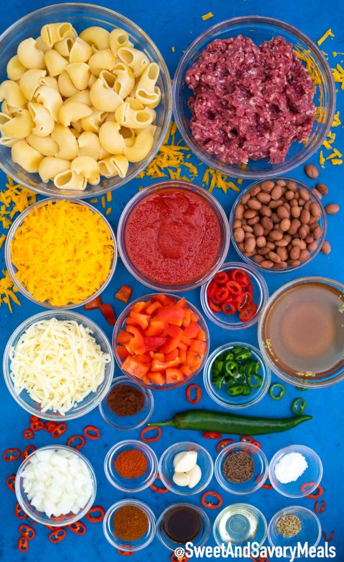 Ingredients for Chili Mac.