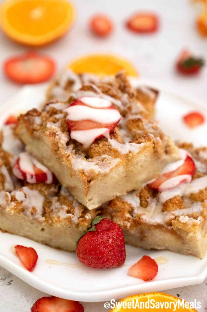 French toast bake casserole with strawberries