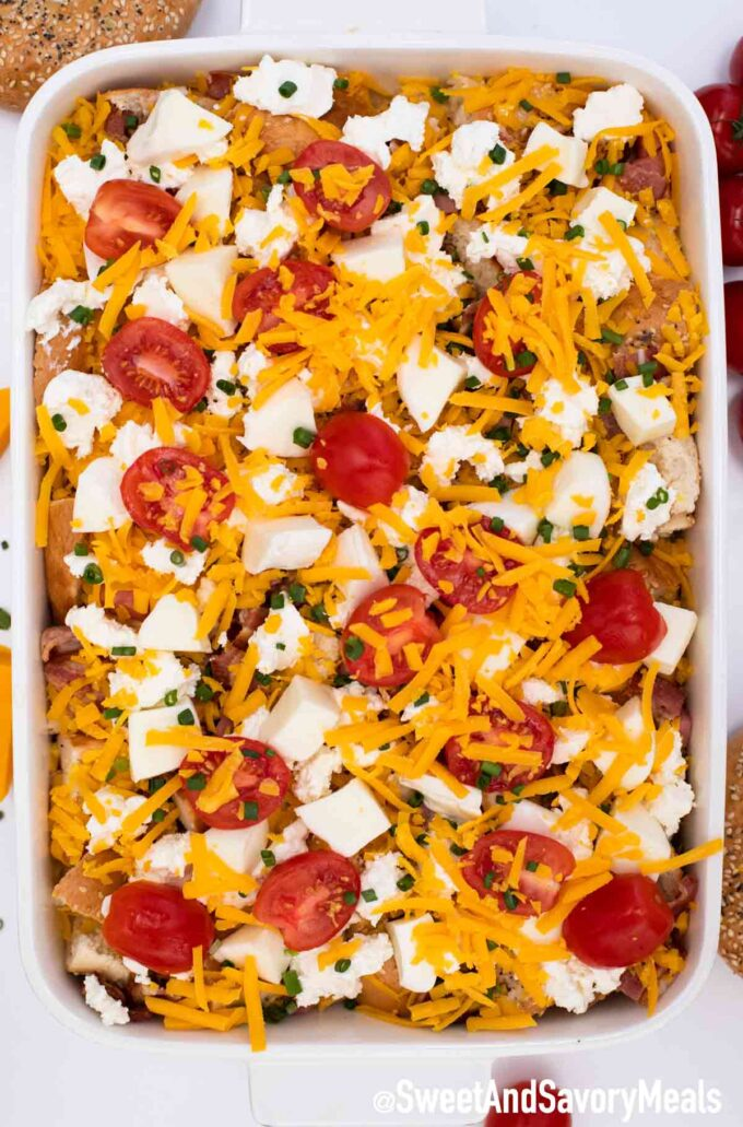 Everything Bagel Breakfast Casserole before baking it