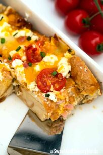 Everything Bagel Breakfast Casserole in pan