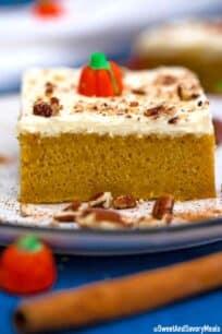 Pumpkin sheet cake slice.