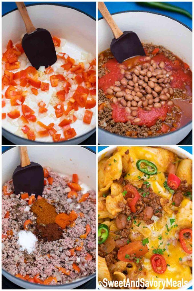 Steps how to make Chili Mac.