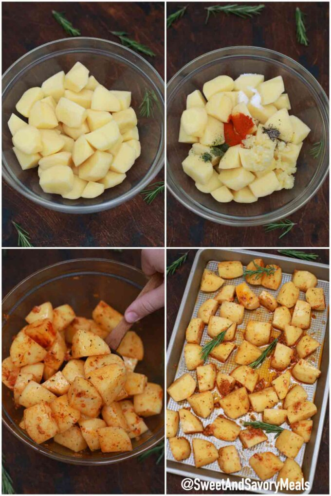steps how to make crispy garlic roasted potatoes