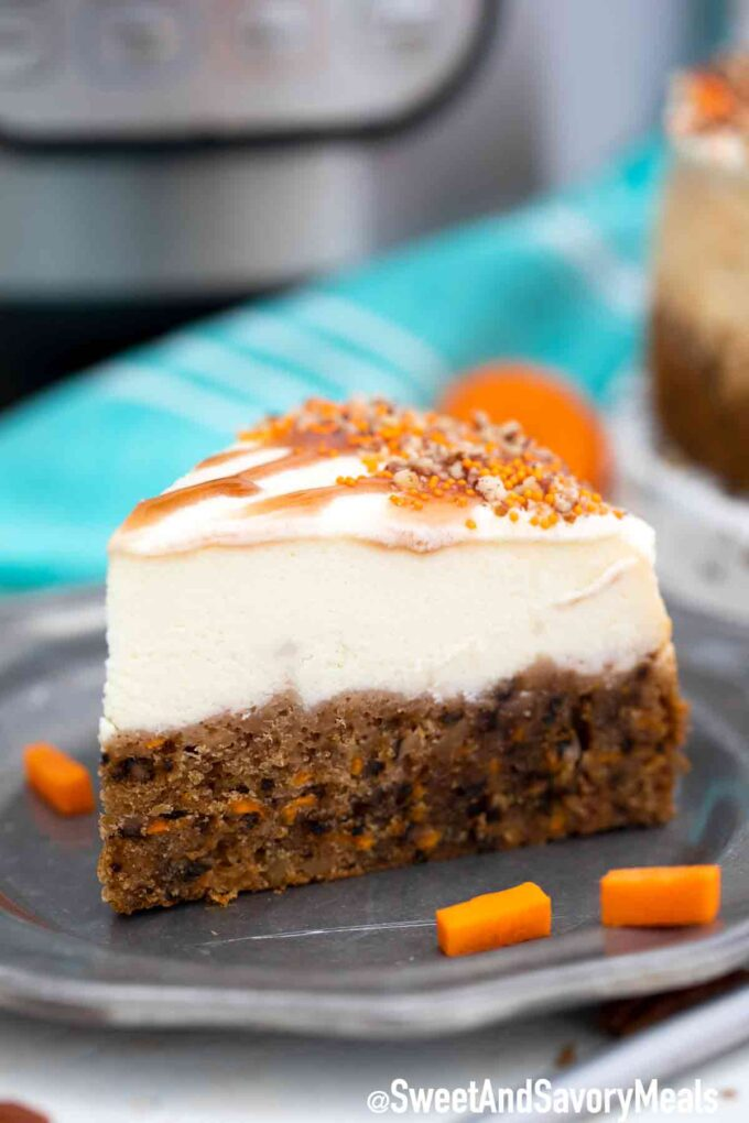 pressure cooker carrot cake cheesecake slice