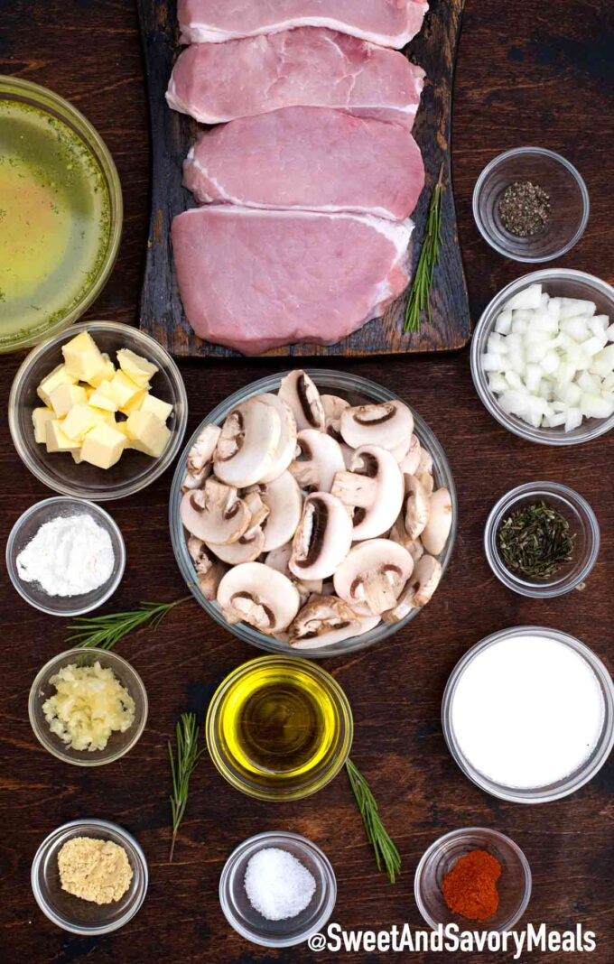 Mushroom pork chops ingredients