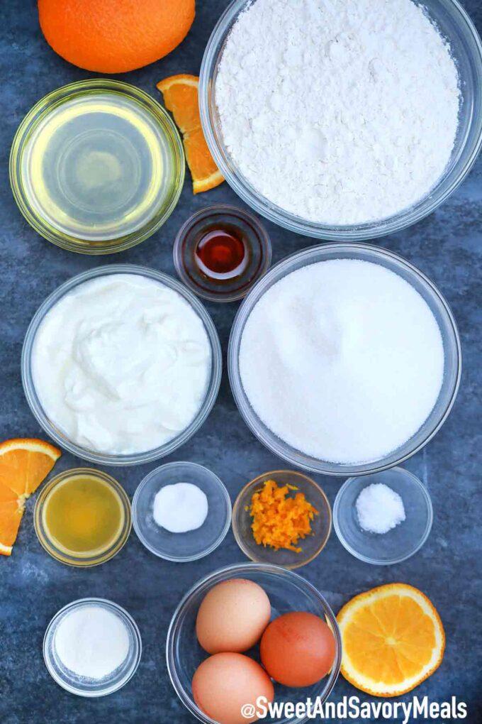 Orange cake ingredients.