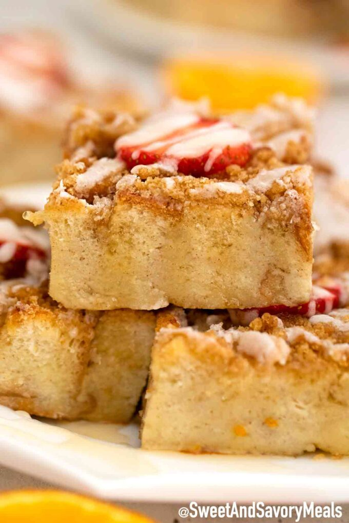 French toast bake casserole on a plate