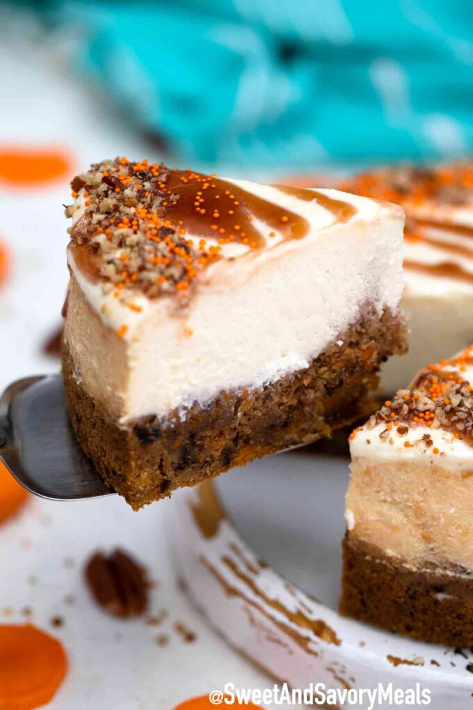 sliced instant pot carrot cake cheesecake