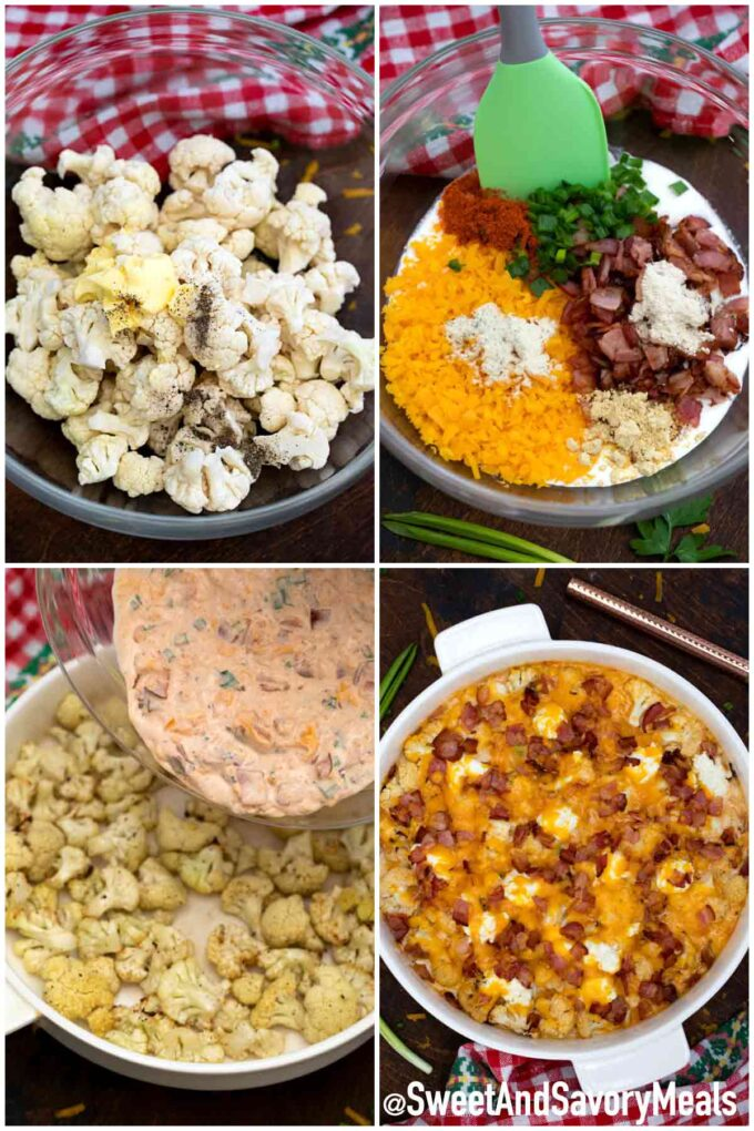 steps how to make cheesy cauliflower bake