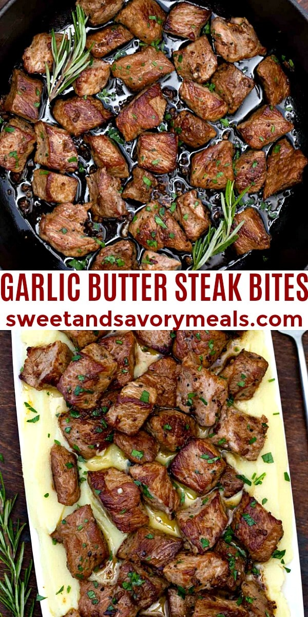 easy garlic butter steak bites pin