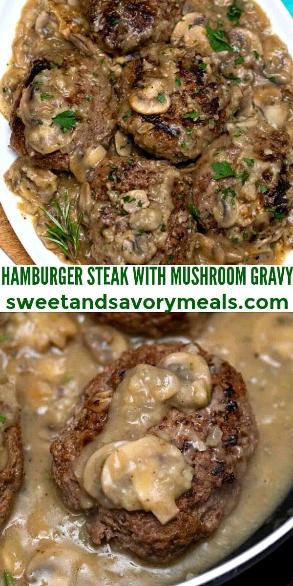 easy hamburger steak with mushroom gravy pin
