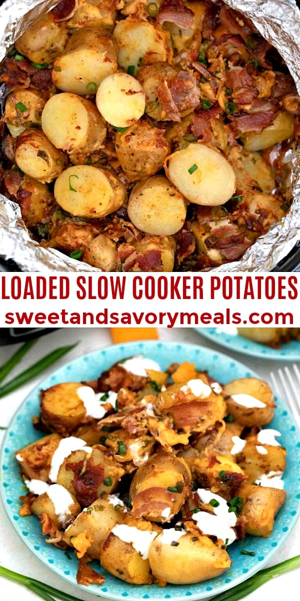 easy loaded slow cooker potatoes pin