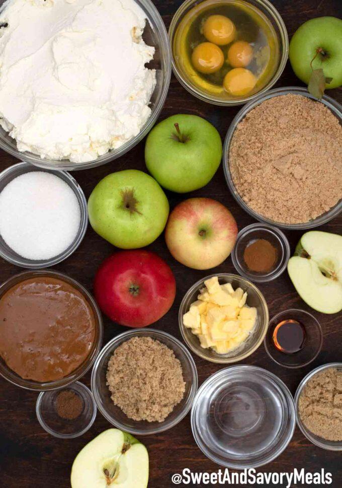 Apple pie caramel cheesecake - ingredients