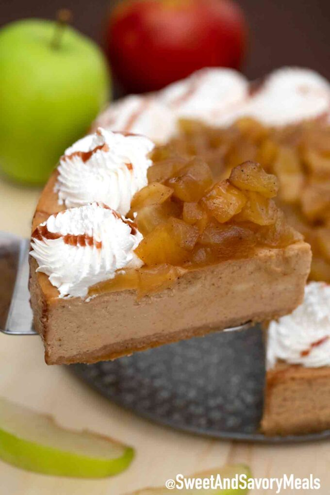 Apple pie caramel cheesecake slice