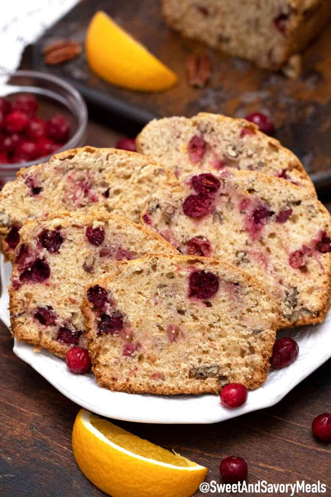 slices of cranberry bread