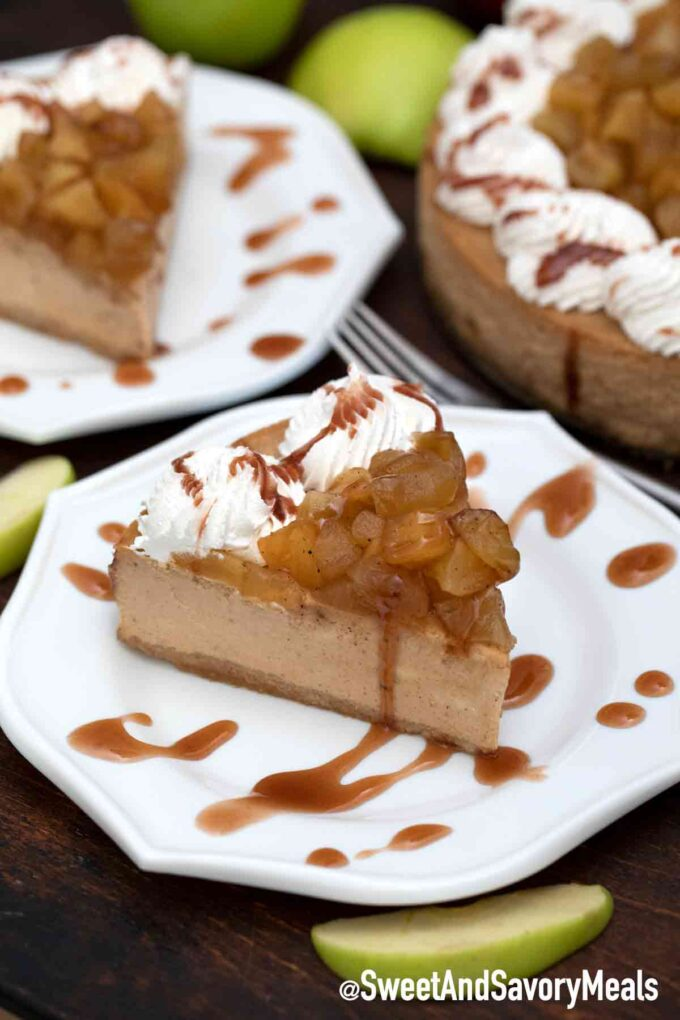 Apple pie caramel cheesecake with browned apples