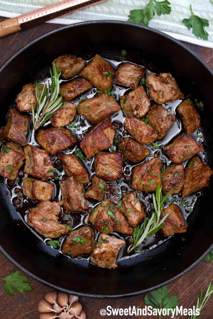 garlic butter steak bites with rosemary