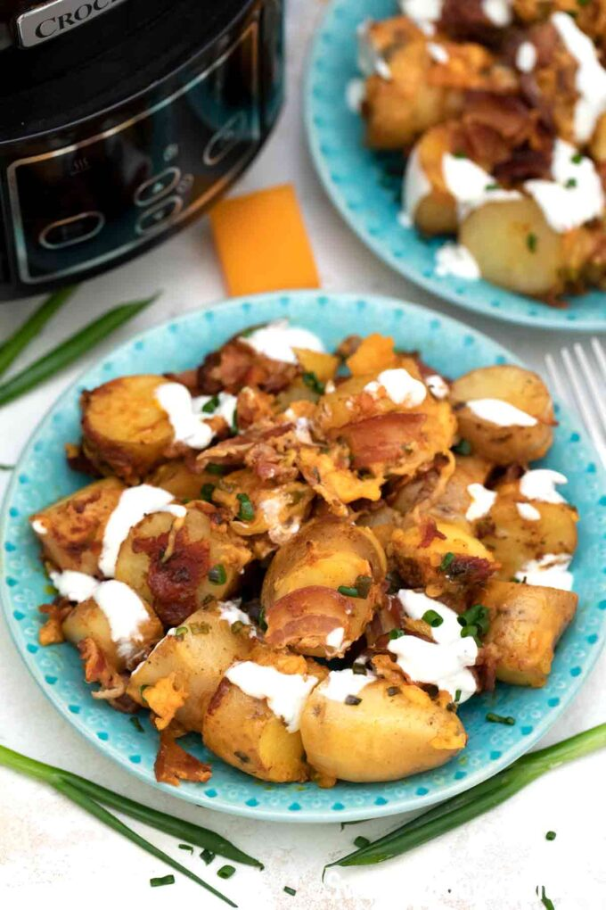 slow cooker loaded potatoes on a plate
