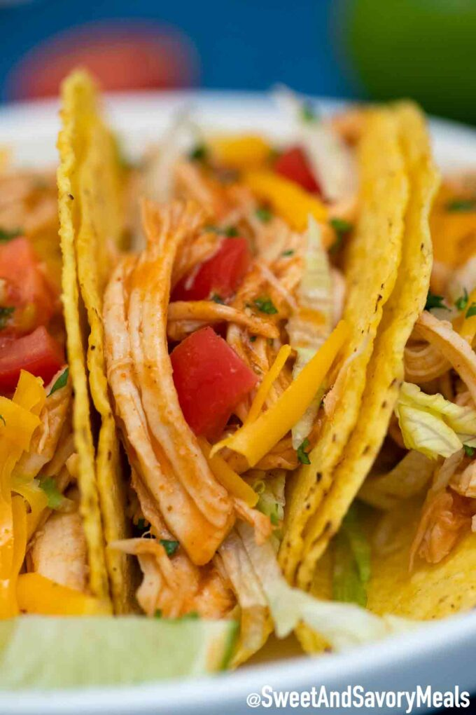 chicken tacos in crunchy shells
