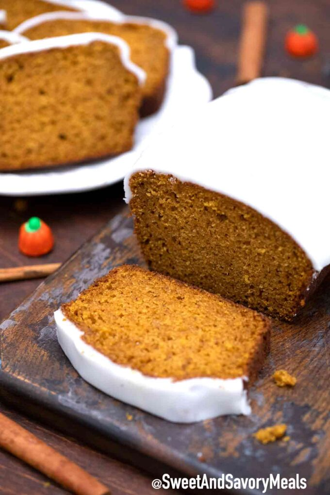 Pumpkin bread with frosting
