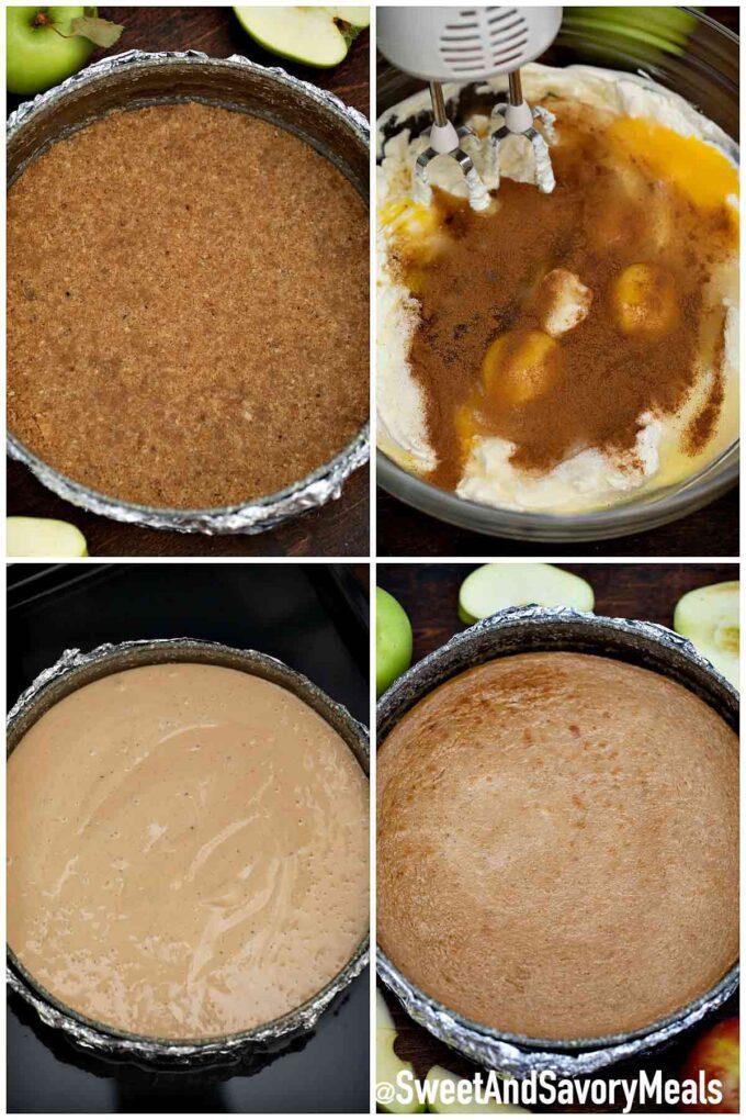 Steps how to make apple pie caramel cheesecake