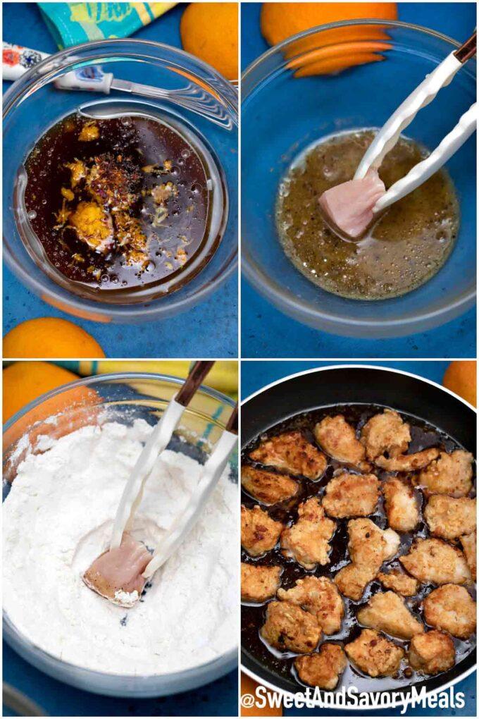 Steps how to make Panda Express orange chicken copycat