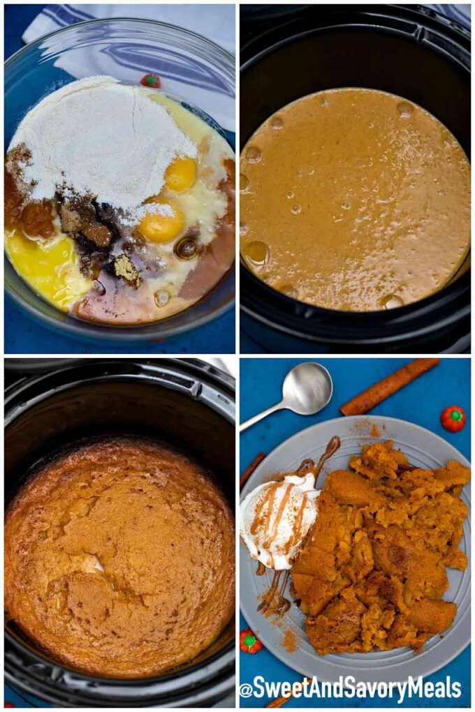 steps how to make slow cooker pumpkin pie pudding