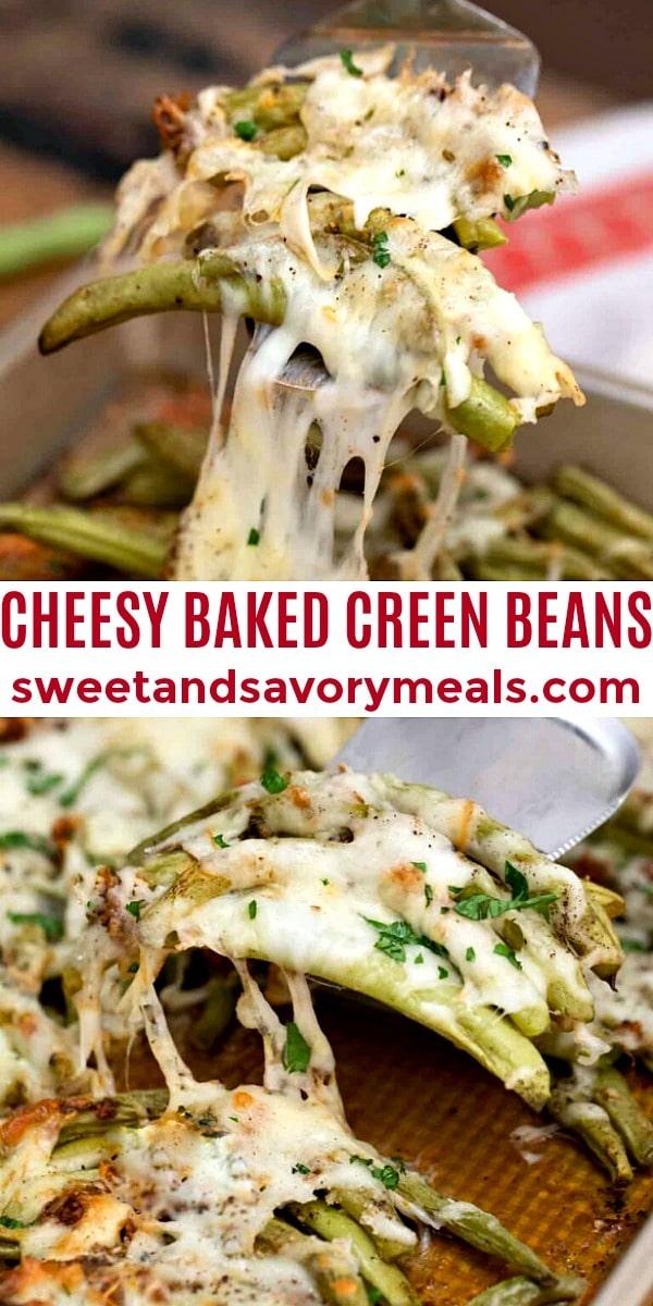 easy cheesy baked green beans pin