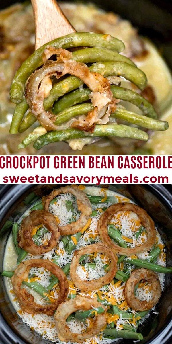 easy crockpot green bean casserole pin