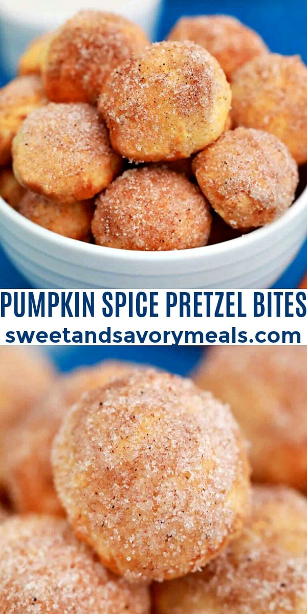 easy pumpkin spice pretzel bites pin