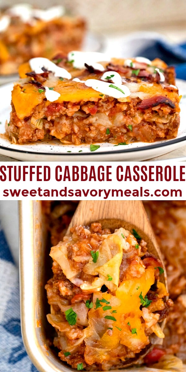 easy stuffed cabbage casserole pin