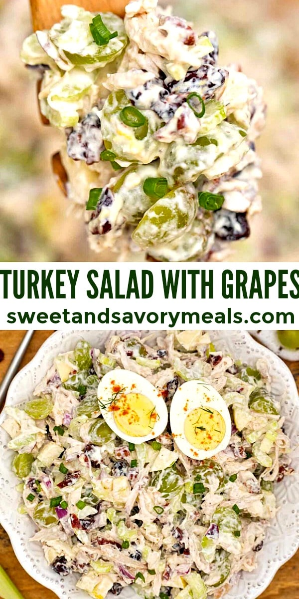 easy turkey salad with grapes pin