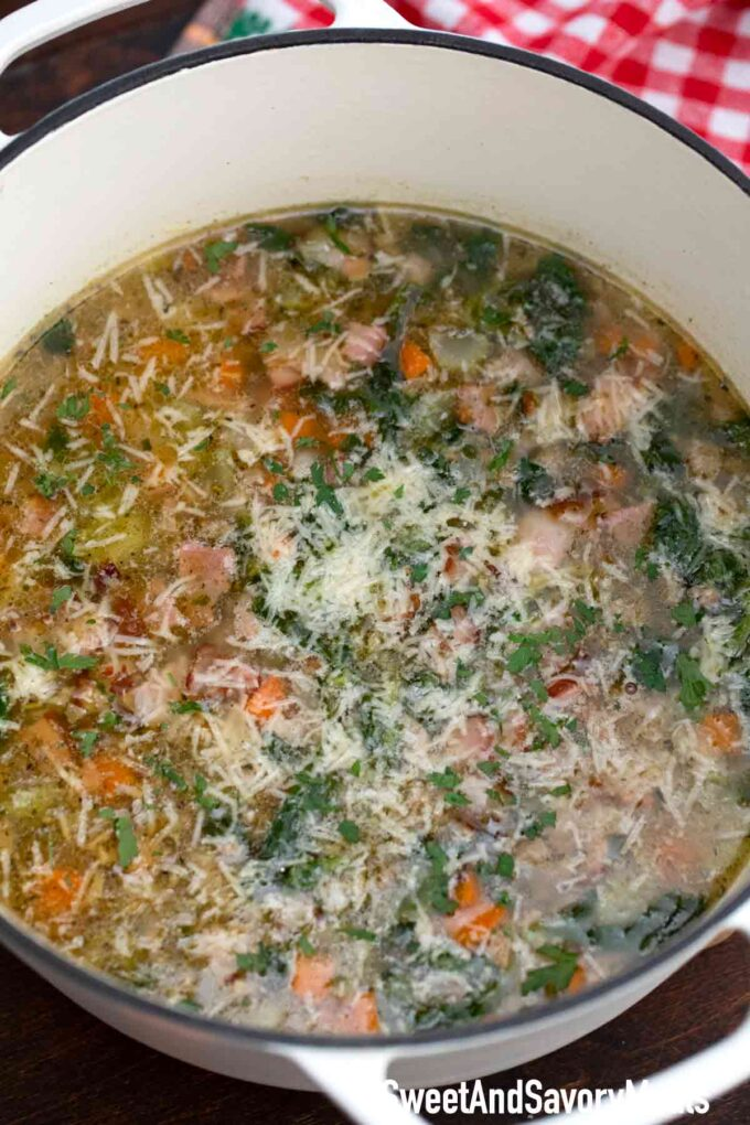bacon cannellini soup in a dutch oven