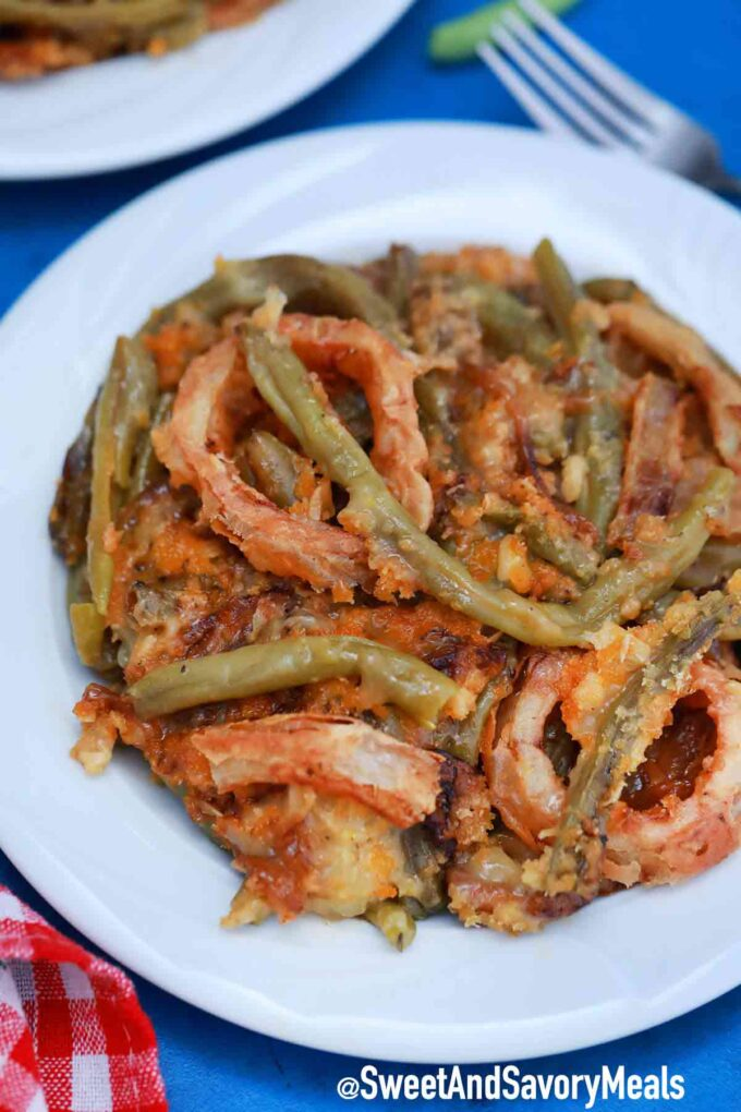 vegan green bean casserole on a plate