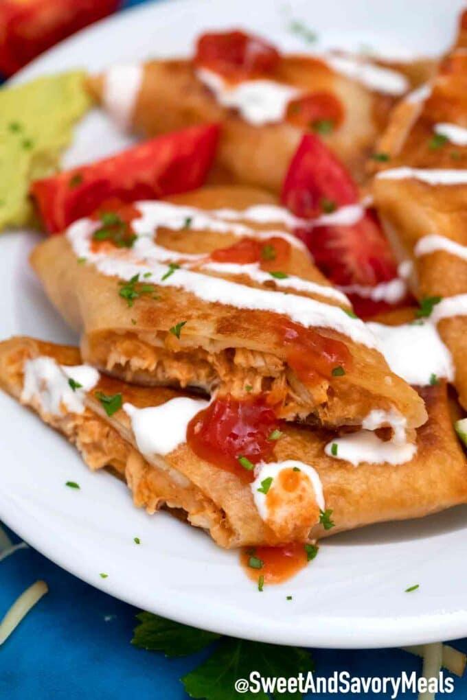 crispy chicken chimichangas