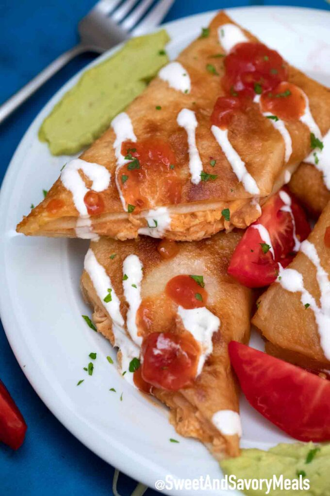chicken chimichangas with guacamole and sour cream