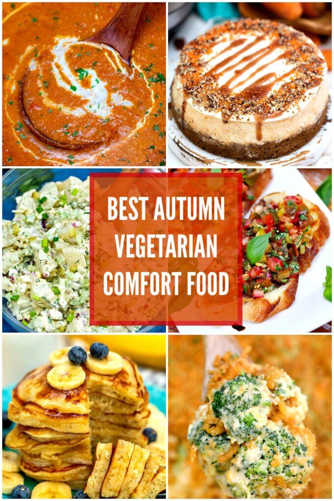 collage of vegetarian fall comfort food