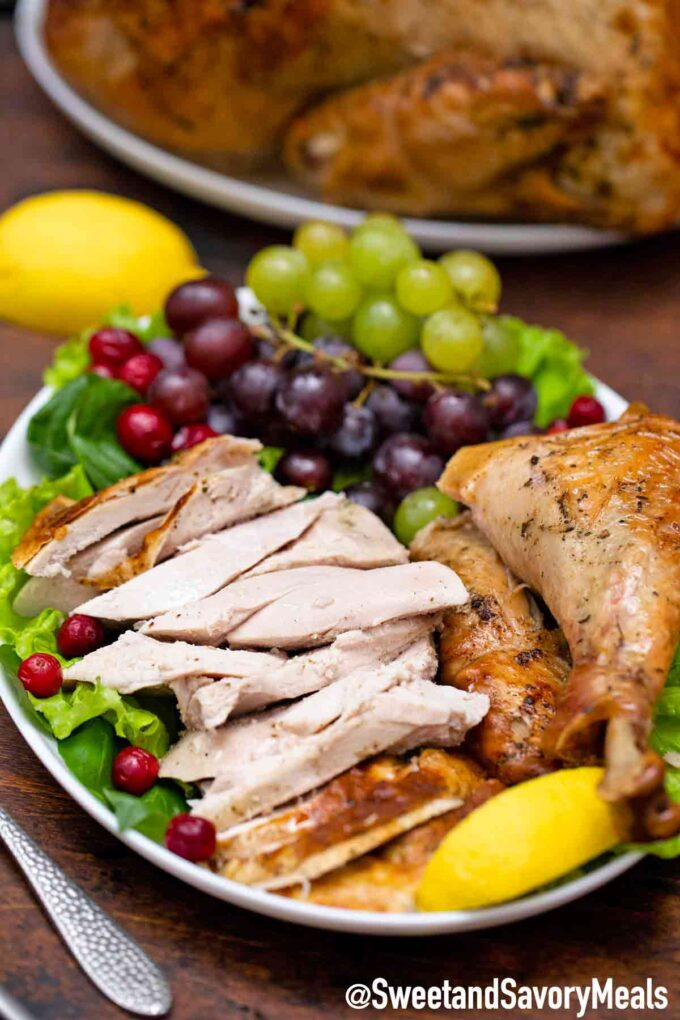 herb roasted turkey on a serving plate