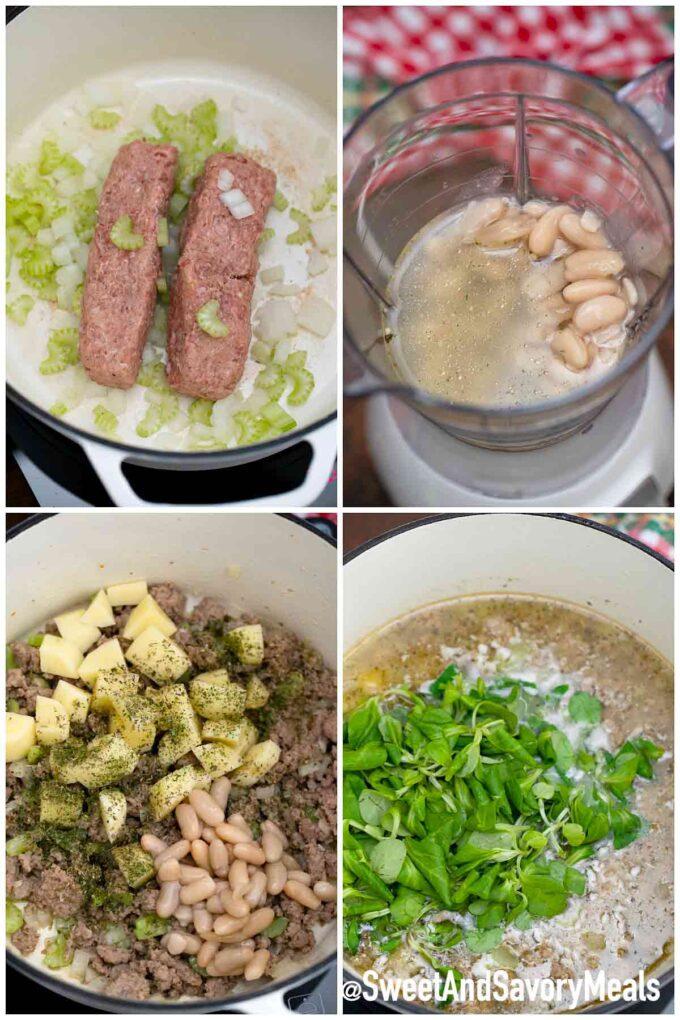 Schritte, wie man Speck-Cannellini-Suppe macht
