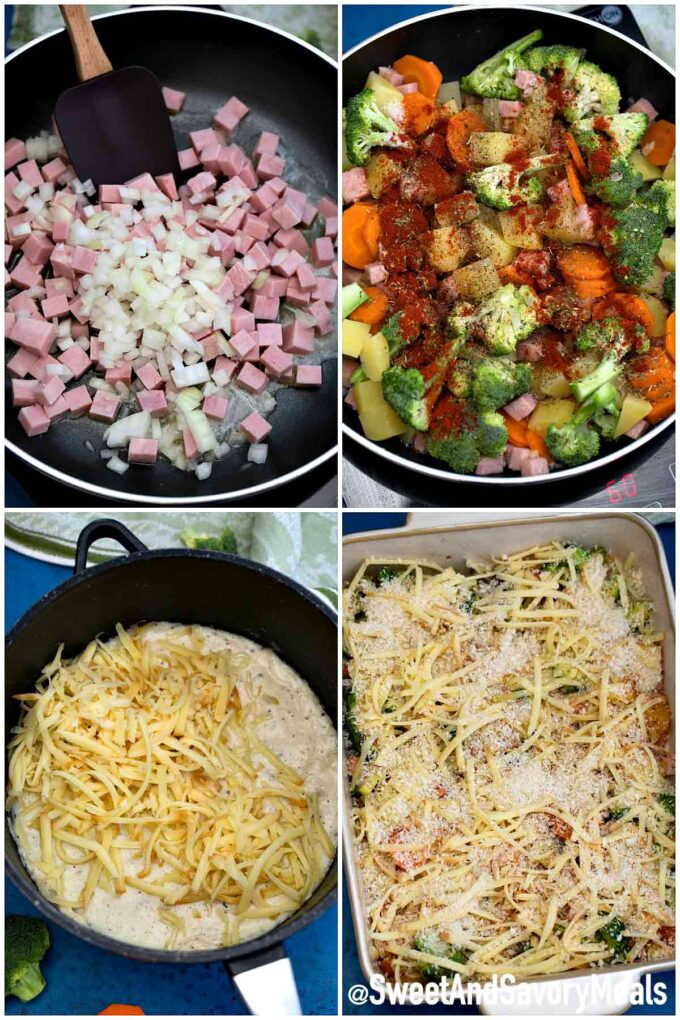 steps how to make cheesy ham casserole