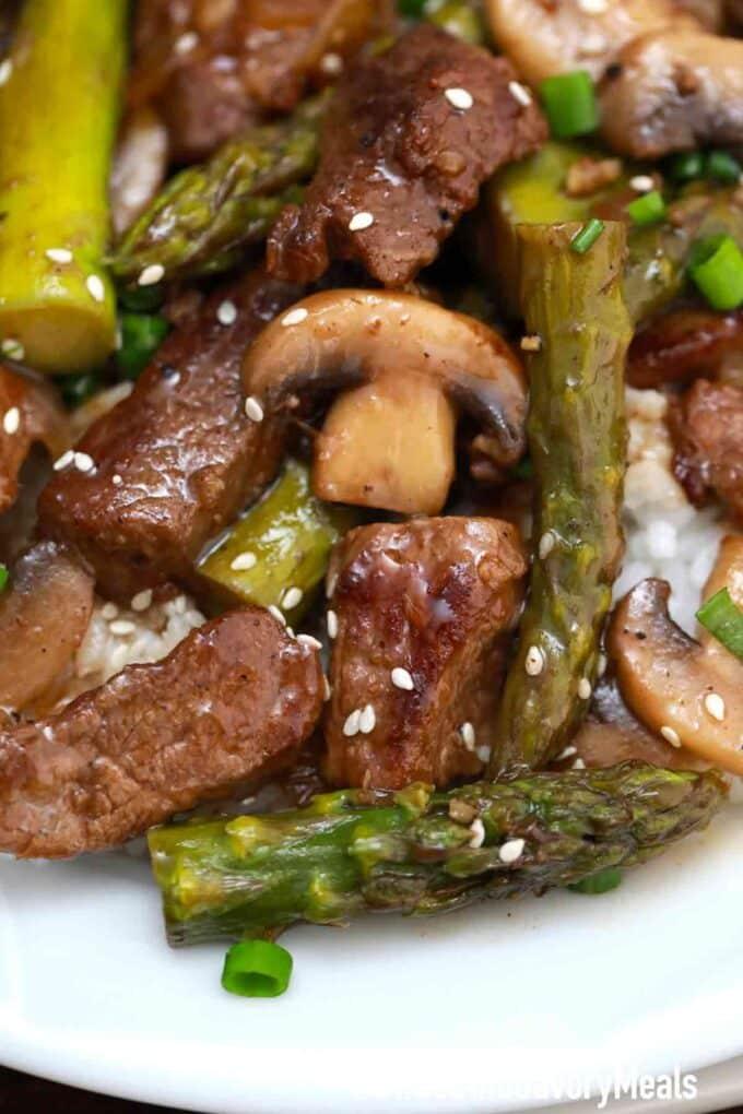 Panda Express Shanghai Angus steak with asparagus and mushrooms