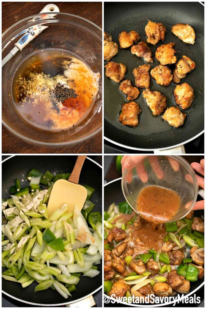 steps how to make Panda Express black pepper chicken