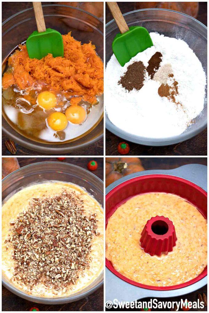 steps how to make pumpkin bundt cake