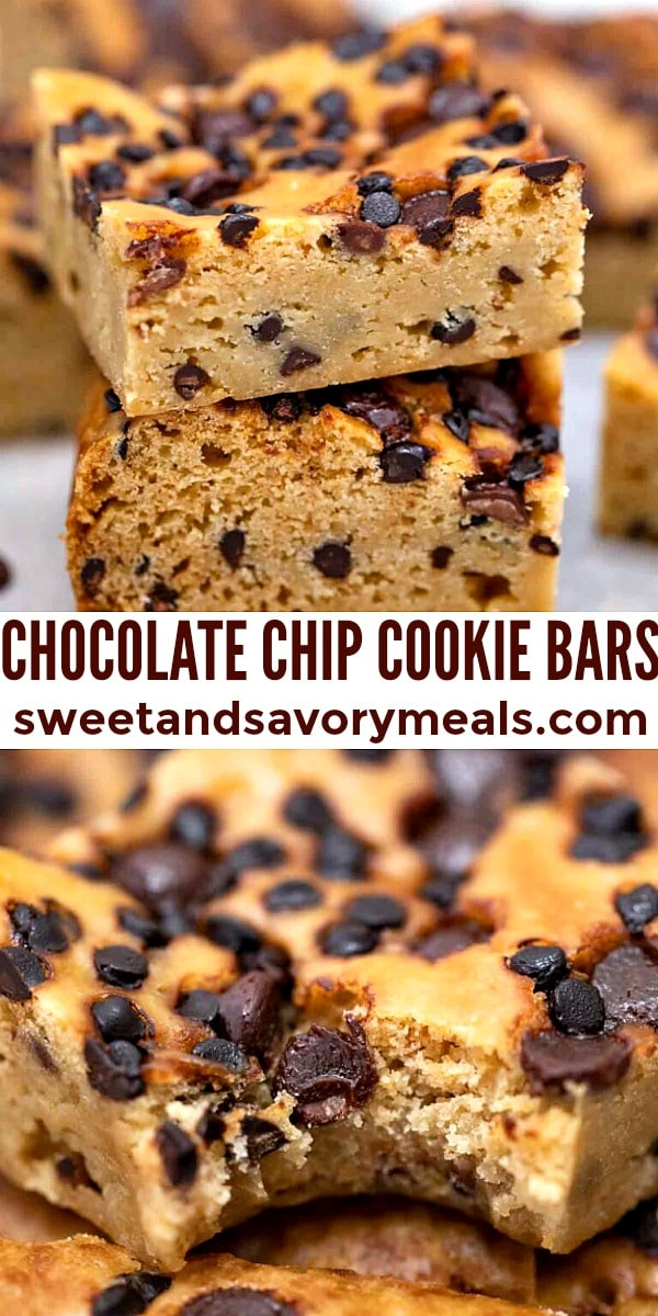 easy chocolate chip cookie bars pin