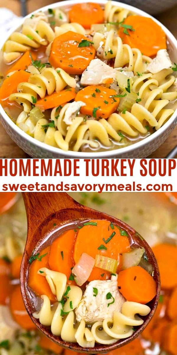easy homemade turkey soup pin