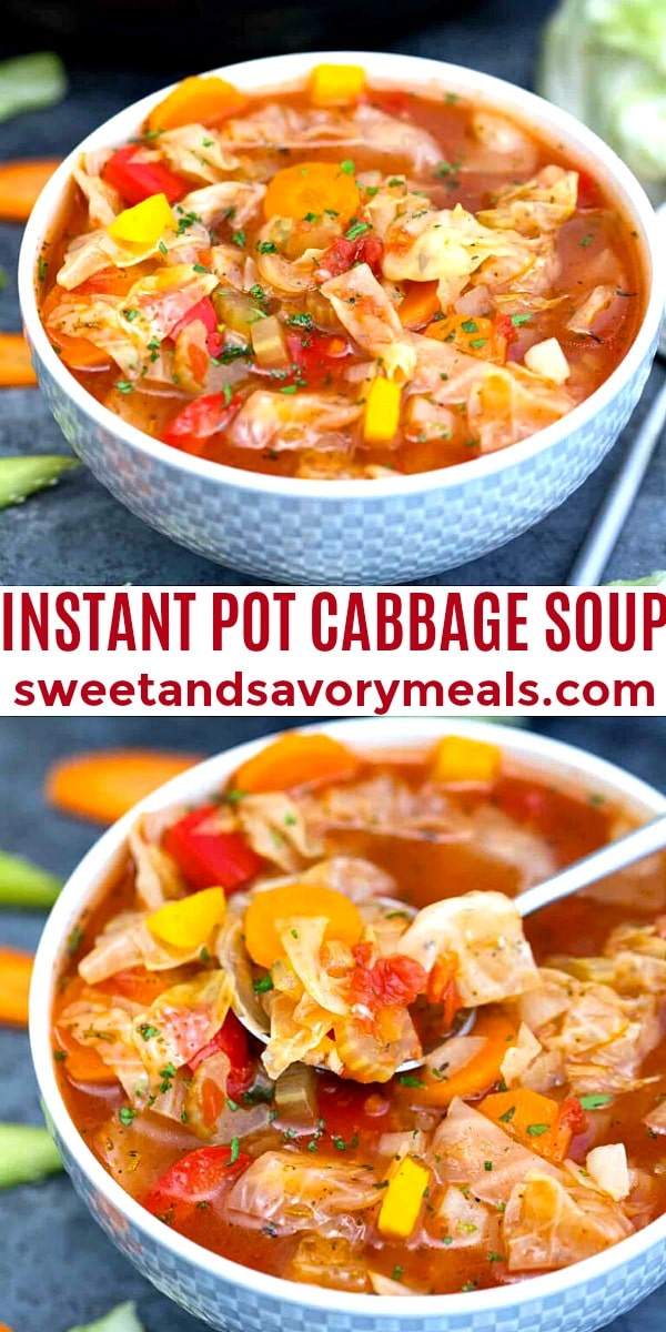 photo collage of instant pot cabbage soup for Pinterest