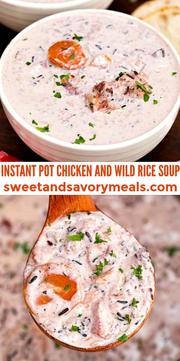 easy instant pot chicken and wild rice soup pin